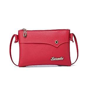 Wultia - Bags Women Retro Solid Color Single Shoulder Bag Handbag Rivets Oblique Cross Bag Logo Letter Bolsa Feminina #0.9 red