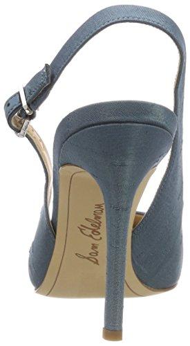 Shadow Edelman Silk Dupioni Talón Abierto para Azul Blue Hastings Mujer Zapatos de Sam RvCAHwqw