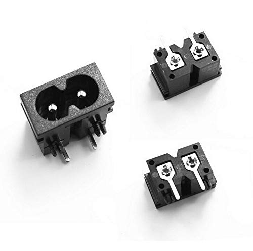 MAO YEYE 100Pcs Black Male Plug IEC320 C8 Power Socket Connector AC 250V 2.5A Right Angle