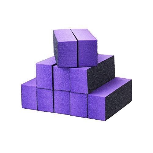 Beautyflier 10 Pack Nail File Buffer Block 3 Way 180 Grit Emery Board Nail Polish Sanding Buffing Block Files Salon Manicure Pedicure Kit (Purple)