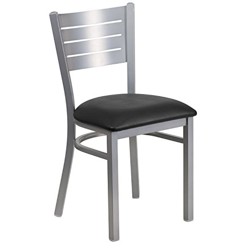 Flash Furniture HERCULES Series Silver Slat Back Metal Restaurant Chair - Black Vinyl - Chair Back Pub Slat