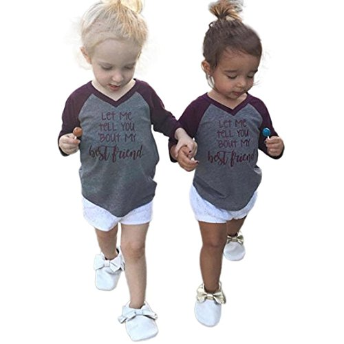Hatop Let Me Tell You Bout My Best Friend Printed Blouse Tops T-Shirt Splice Clothes Outfit for Baby Boys Girls (4T)