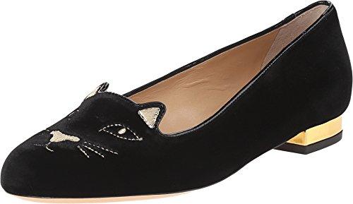 charlotte olympia Women's Kitty Flats, Black/Gold Velvet/Metallic Calf, 35 M