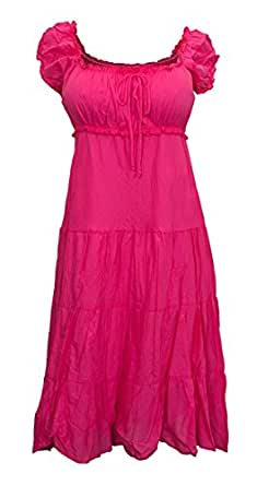 eVogues Plus Size Cotton Empire Waist Sundress Pink - 5X