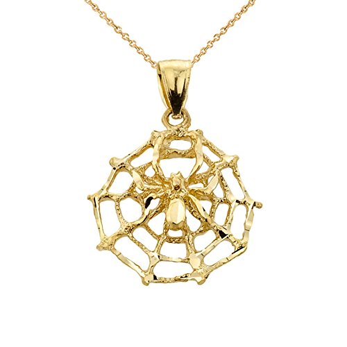 Fine 10k Yellow Gold Spider Web Charm Pendant Necklace, 20