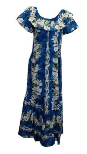 Jade Fashions Inc. Women Hawaiian Long Double Ruffle Blue Ginger Muumuu-Blue-4XL