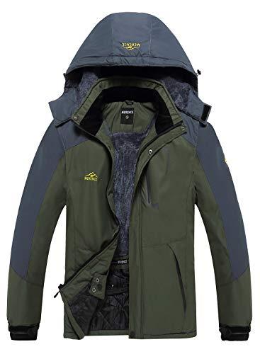 Men's Mountain Waterproof Ski Jacket Windproof Rain Jacket U219WCFY028,Green,L