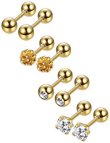 Jstyle 4 Pairs Stainless Steel Ball Stud Earrings for Men Women CZ Cartilage Helix Ear Piercing,Gold