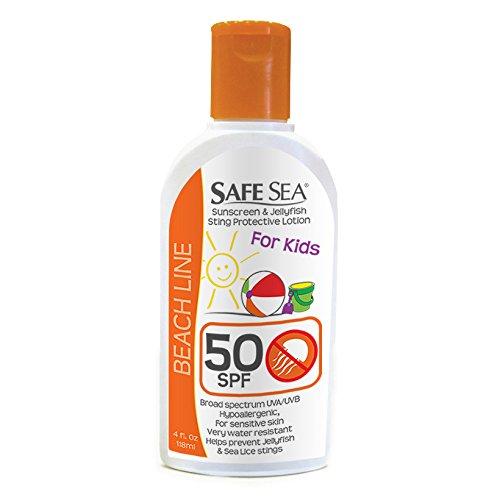 SafeSea Anti-Jellyfish Sting Protective Sunscreen Lotion, 50 SPF Kids Formula (4 oz Bottle, Pack of 6)
