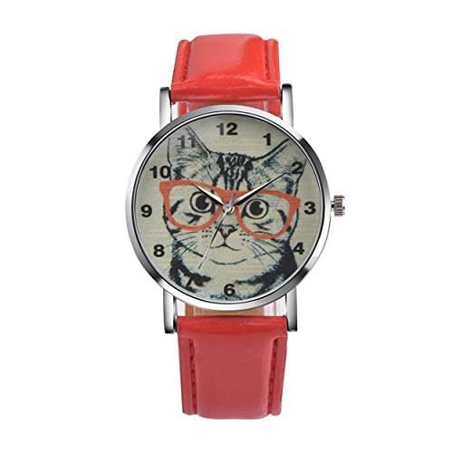 Womens Quartz Watch COOKI Clearance Cat Analog Female Watches Lady Watches on Sale Leather Watch-H78 (Red)