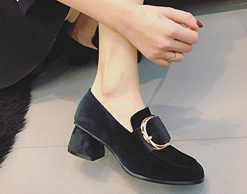 neue lässiger viereckige Der einem High einzigen Schnalle Schuh mit Kopf mit Heels w778FdHx
