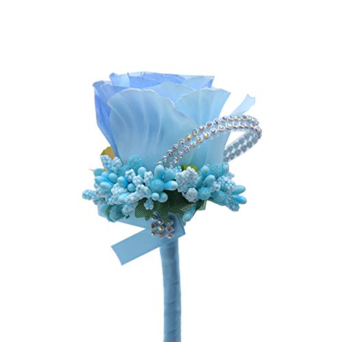 Exquisite Flower Brooch - ink2055 Exquisite Cloth Rose Faux Flower Brooch Pin Decor Groom Bridal Wedding Ornament - Light Blue