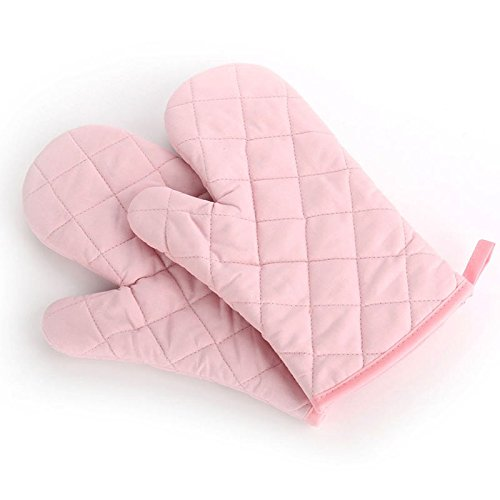 Liyzlj Premium Kitchen Retardant Quilted Oven Mitts Cotton with Thick Terry Cloth Lining (pink)