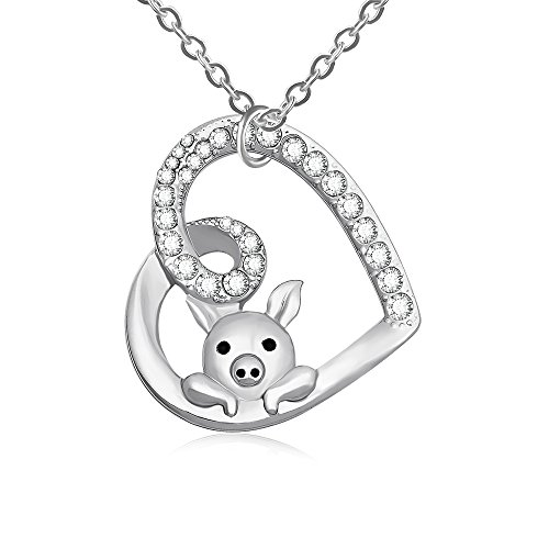 TUSHUO Delicate Cute Hollow Heart Lovely Pig Pendant Necklace Piggy Crystal Jewelry for Women Girls Birthday (Silver)