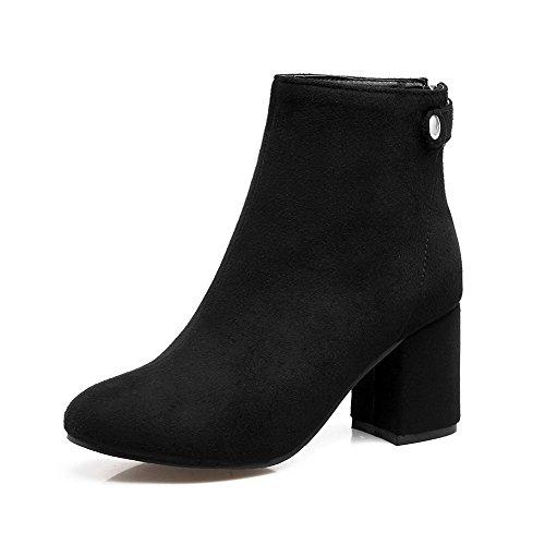 Arrotondata Stivaletti E Satinato Con heels Zipper Neri Women's Punta Kitten Agoolar qw0PIC