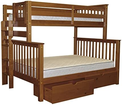 Bedz King Bunk Beds Twin over Full Mission Style with End Ladder and 2 Under Bed Drawers, Espresso