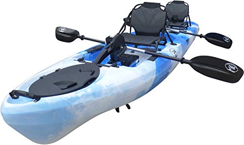 Brooklyn Kayak Company BKC UH-PK14 14 foot Sit On Top Tandem Fishing Pedal Drive Kayak Upright Seats included (BlueCamo)