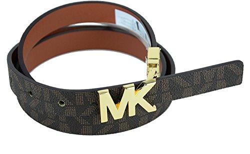 [Michael Kors Reversible Womens Belt, Gold Logo Skinny Belt - Brown Size Medium] (Michael Kors Brown Belt)