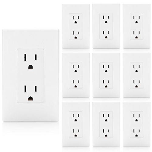 [10 Pack] BESTTEN 15A Decor Receptacle, Standard Electrical Wall Outlet, Decorator Screwless Wall Plate Included, Grounding, Commercial Grade, UL Listed, White
