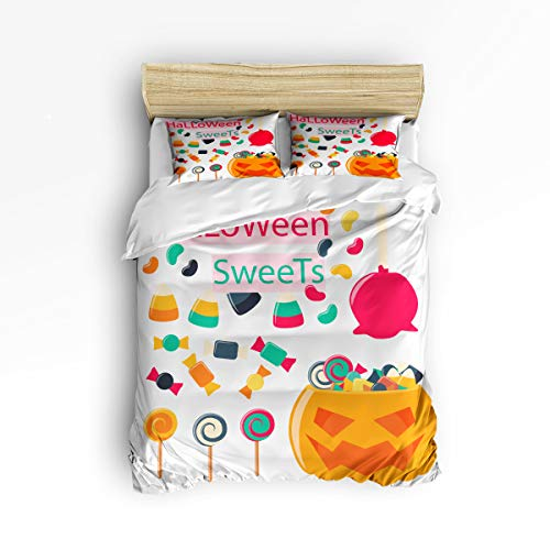 YEHO Art Gallery Fashion Duvet Cover Sets King Size Trick or Threat Cartoon Sweets Pumpkin Happy Halloween,Decorative 3 Piece Bedding Set Include 1 Comforter Cover with 2 Pillow Cases -