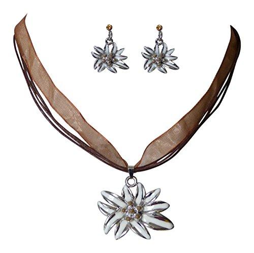 Trachtenschmuck Dirndl Edelweiss Collier-Set - Kette und Ohrringe - mit Perlchen (Braun)