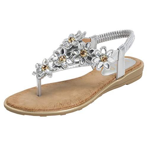 (VIVASHOES Womens Summer Beach Strappy Floral Holiday Wedge Sandals - Silver - US10/EU41 - KL0419)