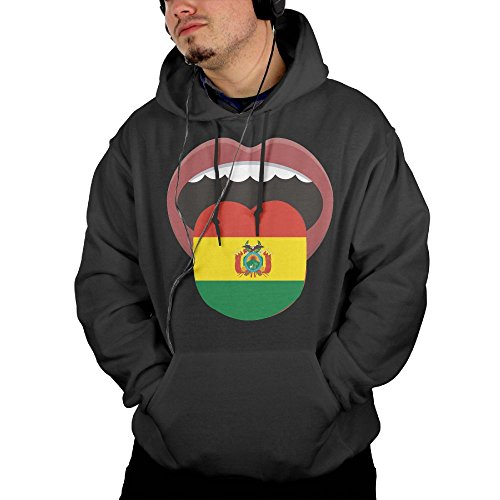 Men's Bolivia National Flag Pullover Hoody With Front Pocket Large