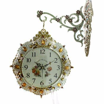 YUENLONG Reloj de pared relojes jardín doble cara pared reloj rojo,Azul