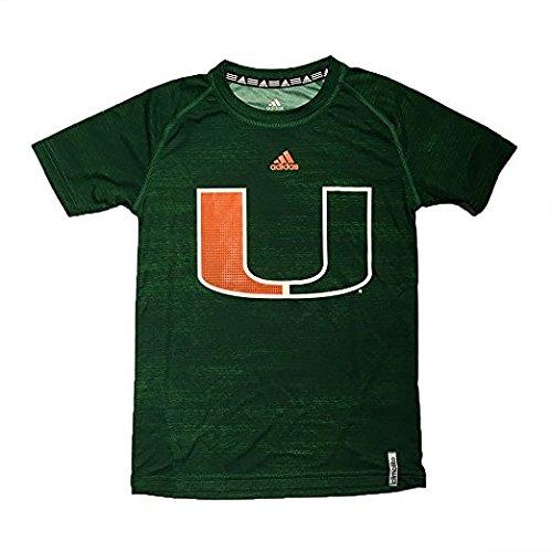 Miami Hurricanes Adidas Youth Climalite Green Logo Tech Performance Tee