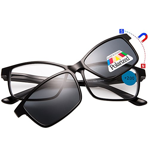 EYEGUARD Reading Glasses With A Magnetic Sunglasses Clip on Polarized Lens - Glasses Sunglasses Combined And