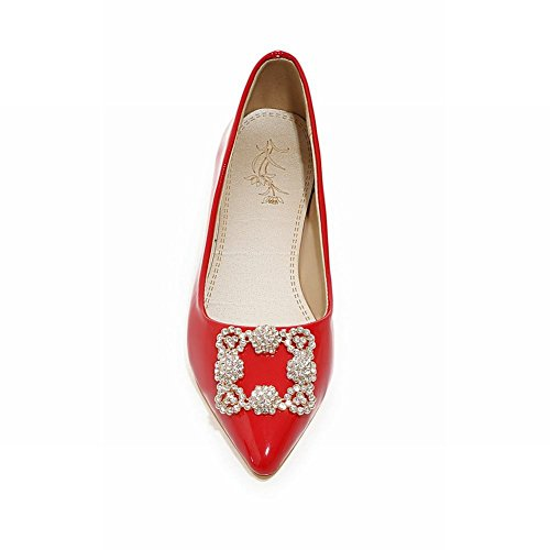 Rhinestones Patent Flats Fashion Loafers Elegance Carolbar Pointed Leather Womens Toe Red Apqz0Xnw