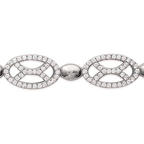 MARY JANE - Bracelet Argent Femme - Long:18cm / Larg:9mm - Argent 925/000 rhodié-Zirconium (Ovale)