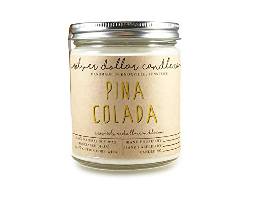 Pina Colada Scented Candle 8oz, Natural Soy Wax candle by Silver Dollar Candle -