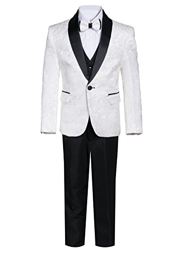 Boys Premium Paisley Patterned Shawl Lapel Tuxedos - Many Colors (16, Off White with Black) ()