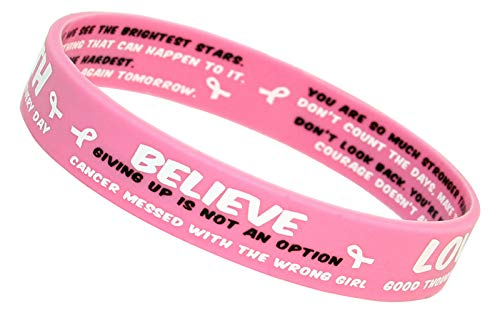 (Astartic 10 Pack Breast Cancer Awareness Bracelets - Pink Silicone Wristbands with White Ribbon Charms and Inspirational Quotes - Gift for Survivors, Patients and Supporters - Support The Girls)