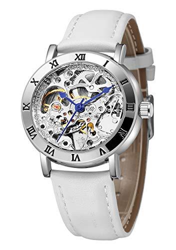 IK Women's Steampunk Automatic Mechanical Watch, Genuine Leather Band Self Winding Lady Dress Wrist Watch ()