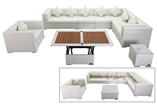 OUTFLEXX Stilvolles Lounge-Set aus hochwertigem Polyrattan in weiß, 3-Sitzersofa, 2-Sitzer + 2 Mittelelemente, Sessel, Beistelltisch, höhenverst. Tisch, inkl. Kissenpolster, Boxfunktion, wetterfest