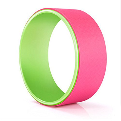 Pink+green angju Yoga Wheel  Professional Yoga Circles Gym Workout Back Training Tool for Waist Shape Bodybuilding Slimming for Fitness