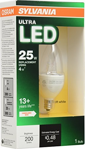 Sylvania 79634 ULTRA 4W LED Decor lamp with candelabra base replacing 25W incandescent, , by Sylvania