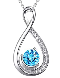 December Birthstone Jewelry for Women Forever Love Infinity Half Moon Necklace Birthday for Her Sterling Silver