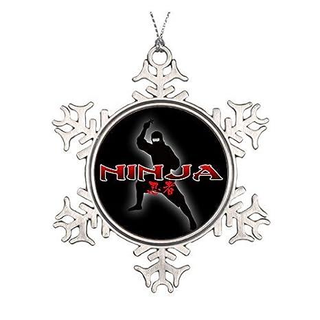 LilithCroft99 Ninja Silhouette Pewter Snowflake Christmas Ornaments,Christmas Tree Decorations Ornaments,Keepsake,Novelty