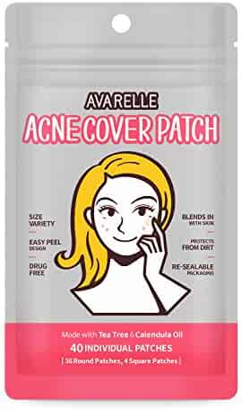 Avarelle Acne Cover Spot Patch Hydrocolloid, Tea Tree & Calendula Oil (VARIETY PACK / 40 PATCHES)