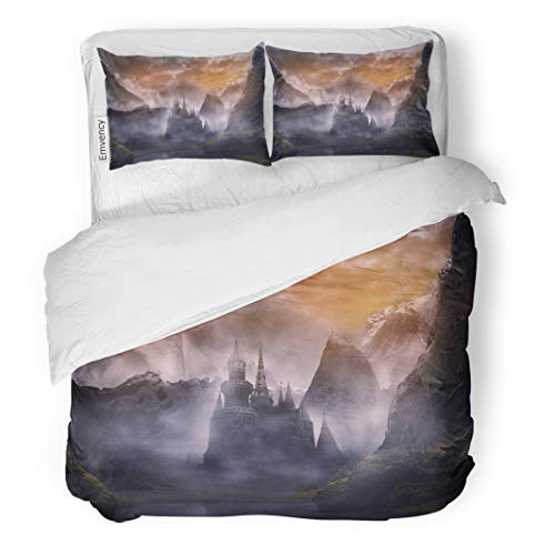 Emvency Decor Duvet Cover Set Twin Size Blue Medieval Castle in Fantasy Landscape Summer with Sunset Green Fairy Dark 3 Piece Brushed Microfiber Fabric Print Bedding Set Cover -