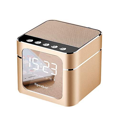 - Q5 Mini Bluetooth Wireless Super Bass Speaker TF Card Audio Alarm Clock Creative Jukebox Gold Maoyou