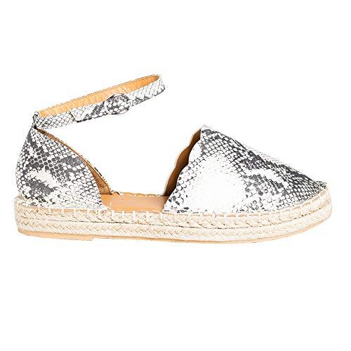 Ruanyu Womens Flatform Espadrille Sandals Ankle Strap Closed Toe Summer Flat Sandal