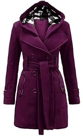 Noroze Womens Check Hood Coat Small, Purple