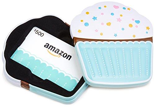- Amazon.com $500 Gift Card in a Birthday Cupcake Tin (Birthday Cupcake Card Design)