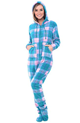 Alexander Del Rossa Womens Fleece Onesie, Hooded Footed Jumpsuit Pajamas, 3X Teal and Pink Plaid (A0322P963X) -