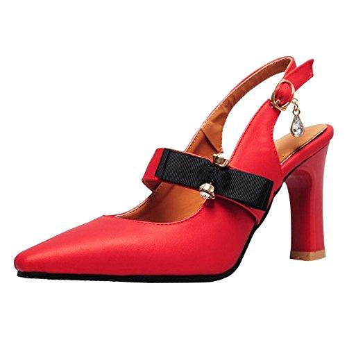 TAOFFEN Bride Sandales Femmes Red Arriere AOwZq4wxS