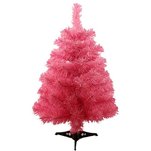 (Jackcsale 2 Foot Artificial Christmas Tree Xmas Pine Tree with PVC Leg Stand Base Holiday Decoration Pink)